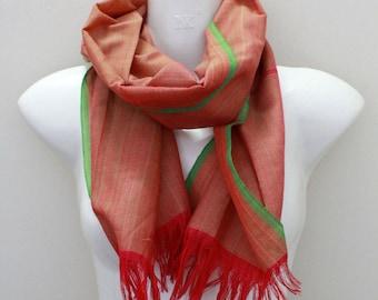 Cambodian Raw Silk Scarf 137x37cm