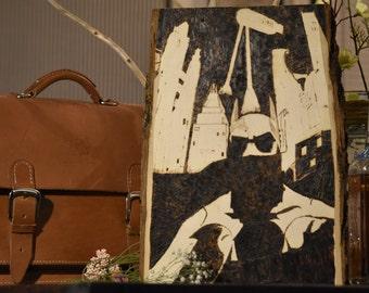 IN PROGRESS: Batman in Gotham - Wood burning Pyrography Art - Free Shipping