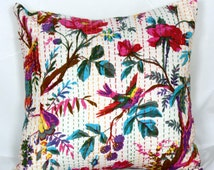 indian kantha cushion 12x12,16x16,18x18 to 26x26 multi color  handmade bird print pillow  decorative cushion  quilt pillow  pillow cover