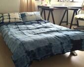 Shibori indigo linen bed cover