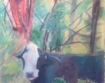 Cow in Utah (framed watercolor painting)