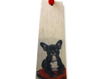 Wooden bookmark - Wood bookmark - Dog bookmark - French Bulldog bookmark - Dog lover bookmark - Bulldog bookmark - Page marker - unique