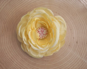 Yellow Ranunculus -  Wearable Flower- Touch of Red