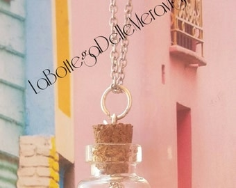 Romantic heart and key necklace 35 mm glass ampulla