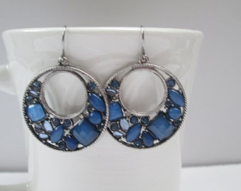 Silver Hoop Earrings with Blue Stones