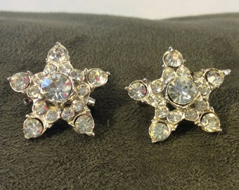 Vintage 1950s Scatter Pins Rhinestone Stars with Silver Tone Metal or Crystal Star Scatter Pins