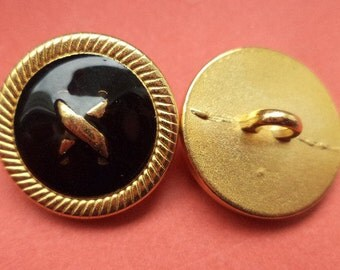 Metal button buttons 11 metal buttons gold black 19 mm (6377)