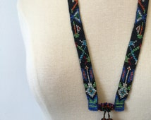 1970s beaded necklace * Vintage Native American * Intricate moccasin detail