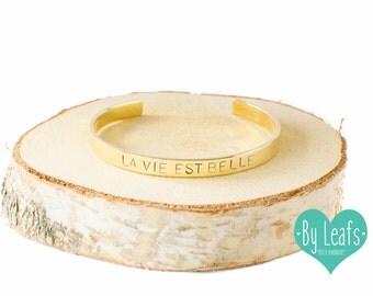 Hand stamped bracelet - Bracelet with text La Vie est Belle - Personalized bracelet - Custom bracelet - Cuff bracelet - Gold color
