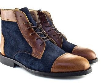 Man Handmade Balmoral Boots in Brown Leather and Blue Suede - Chocolate Brown Leather and Navy Blue Suede