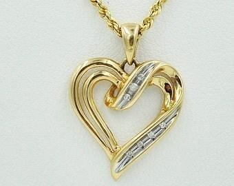 14K Gold Heart Diamond Pendant On 14k Necklace, 17.75'' necklace