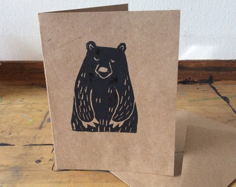 Hand Stamped Bear Greeting Cards (Set of 5)