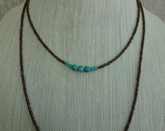 Double Chain Beaded Necklace with Turquoise and Amazonite Stones