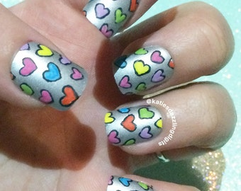 Handpainted matte Rainbow love hearts square fake press on nails