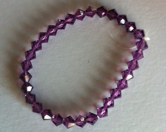 Purple glass bead bracelet