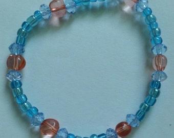 "7.5"" Blue and Coral Bracelet"