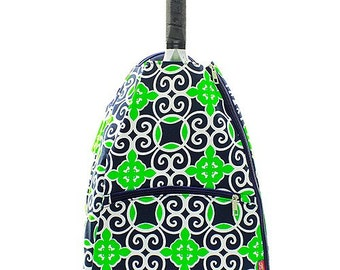 Monogrammed Navy and Green Geometric Tennis Backpack-Monogram Tennis Backpack-Personalized Tennis Backpack-Monogrammed Tennis Bag