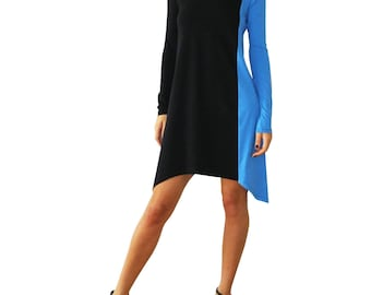 Asymmetrical Long Sleeves Colorblock Minimalist Women's Dress/Black-Electric Blue Oversized Women Tunic/Plus size Knee Length Dress