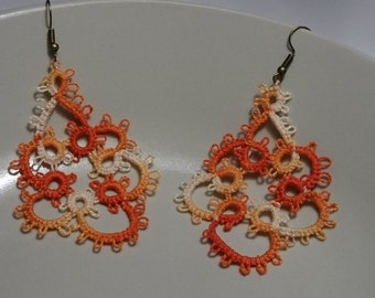 Tatted lace earring - tatting jewelry orange