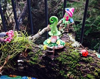 Fairy garden Mossy Log dwellings