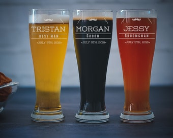 Groomsman Pilsner Glass, Mustache Beer Glass, Groomsmen Gift, I Mustache You A Question, Wedding Party Favors, Custom Pilsner Glass, Weddin