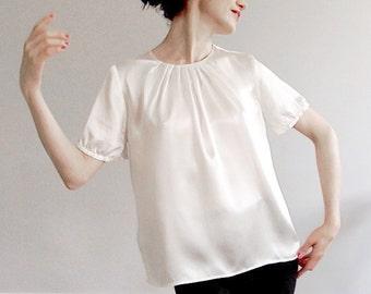 Light cream 100% silk blouse