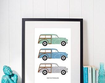 Morris Traveller A4 illustrated artwork