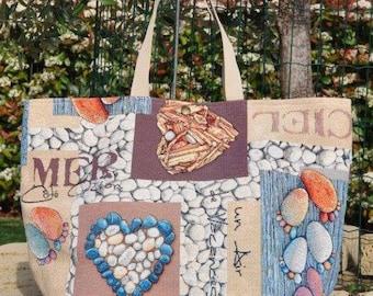 River-Shopper gobelin, handmade piece of beach collection, maritime design.