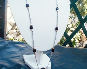 Long black crystal necklace Art deco inspired silver long necklace with steel chain