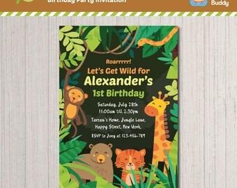 Jungle Safari Wild Animals Theme Birthday Party Invitation Design | Boys Birthday | Digital Printable | Personalized Invite