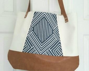 Blue Off White Brown Faux Leather Handbag, Tote Bag, Travel Bag, Diaper Bag, Laptop Bag, Large Handbag, Work Bag, Blue Print, Gift for Her