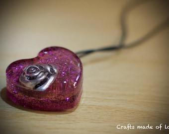 Pink heart shaped rose pendant