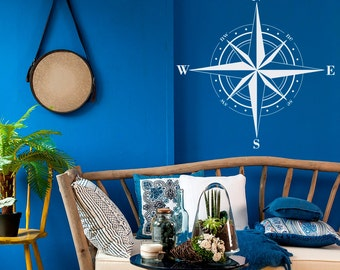 Compass Rose Decal Nautical Home Decor- Nautical Compass Wall Decal Travel Decor- Compass Wall Art North South East West Bedroom Decor #65