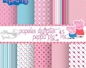 Digital paper kit Peppa Pig + Clipart