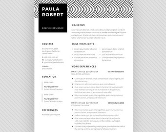 "Resume Template / CV Template + Cover Letter for MS Word and Photoshop | Instant Digital Download - ""Crucis"""
