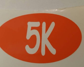 Running races car Decals - perm. vinyl - use on car windows etc. Decal only. Color/size options available. 0.0, 5K, 10K, 13.1, 26.2