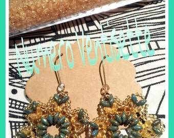 Pair handmade earrings with seed beads and superduo in shades of Sage Green and gold and yellow