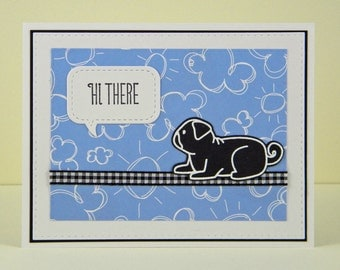 Pug Hello Card, Pug Hi There Card, Handmade Pug Card