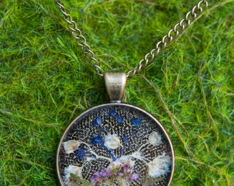 Round Pendant with Pressed Flowers