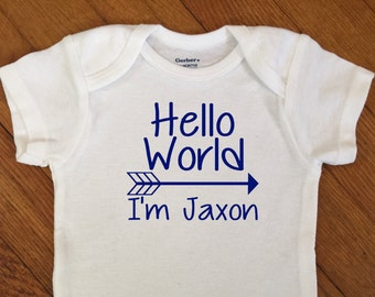 SALE! Hello World Arrow Personalized Shirt, Boy Name Outfit, Newborn Boy Bodysuit, Infant Onesie®,  Baby Shower Gift, Personalized Hospital