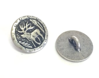 Antlers Metal Shank Button, Moose Button, Southwest Button, 19 mm