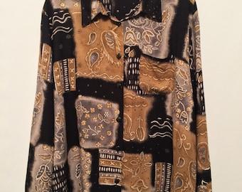 Black/Brown/Grey Multi Print Shirt