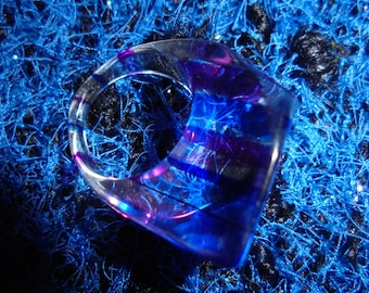 Valentine ring artist Switzerland/year 80/unique/acrylic/blue, purple/Original Piece