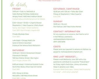 Bachelorette / Bachelor Party Agenda