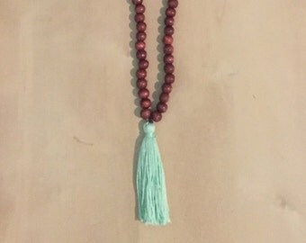 Wooden Beaded Tassel Necklace (mint green)