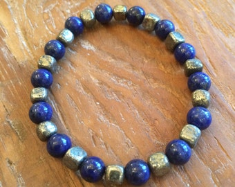 Lapis lazuli and pyrite stretchy bracelet. Fools gold, gifts for her, Mother's day, teacher gift, blue, gift boxed.