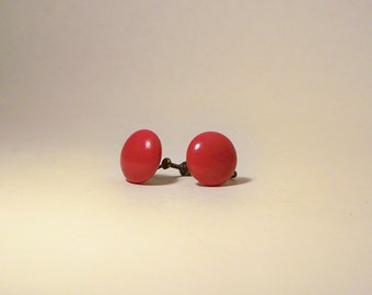 Classic Mid Century Little Red Button Screw Back Earrings