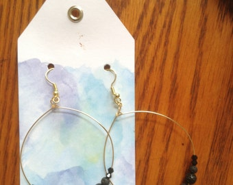 Lava stone delicate hoop earrings