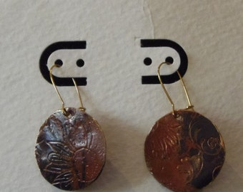 Round Etched Copper Patina Earrings