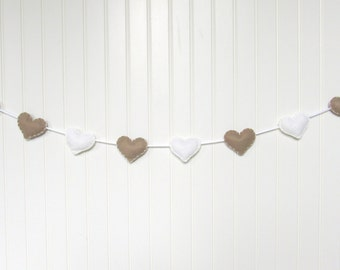 Heart banner / garland / bunting - Beige and white - Nursery decoration